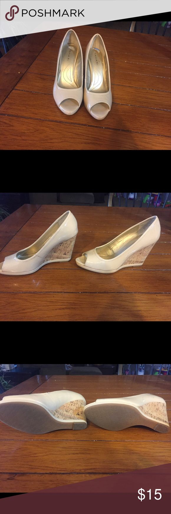 Cream wedge shoes Paten leather cream colored/nude wedges. Excellent condition! Brand is Tahari Tahari Shoes Wedges