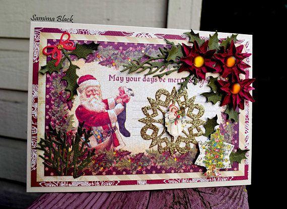Fancy Christmas Card Vintage Victorian Christmas Card