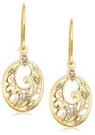 Yellow Gold Plated Sterling Silver Diamond Accent Floral Dangle Earrings