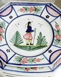 Vintage French HB Quimper Mistral Octagon Salad Plate
