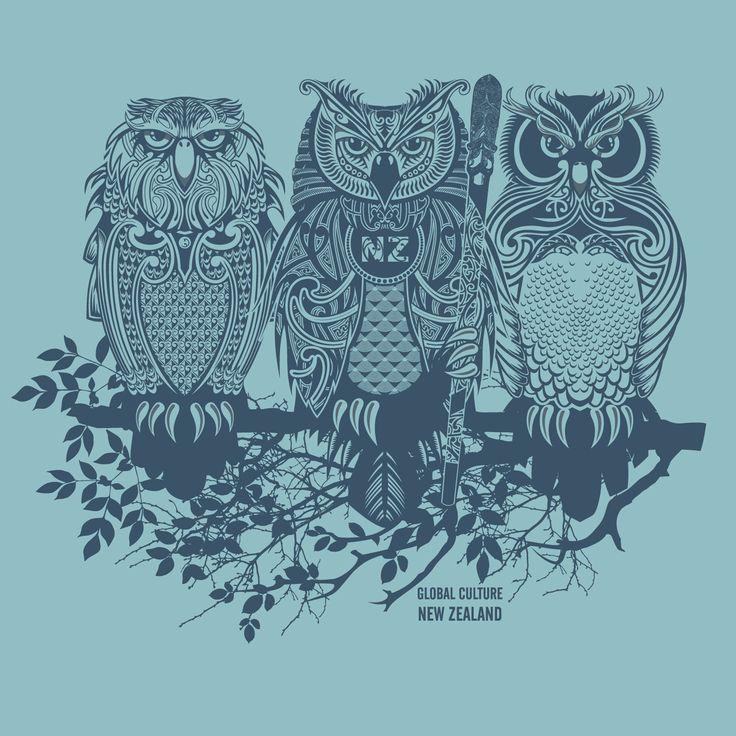 New Zealand Owl or Ruru - Maori designed art block