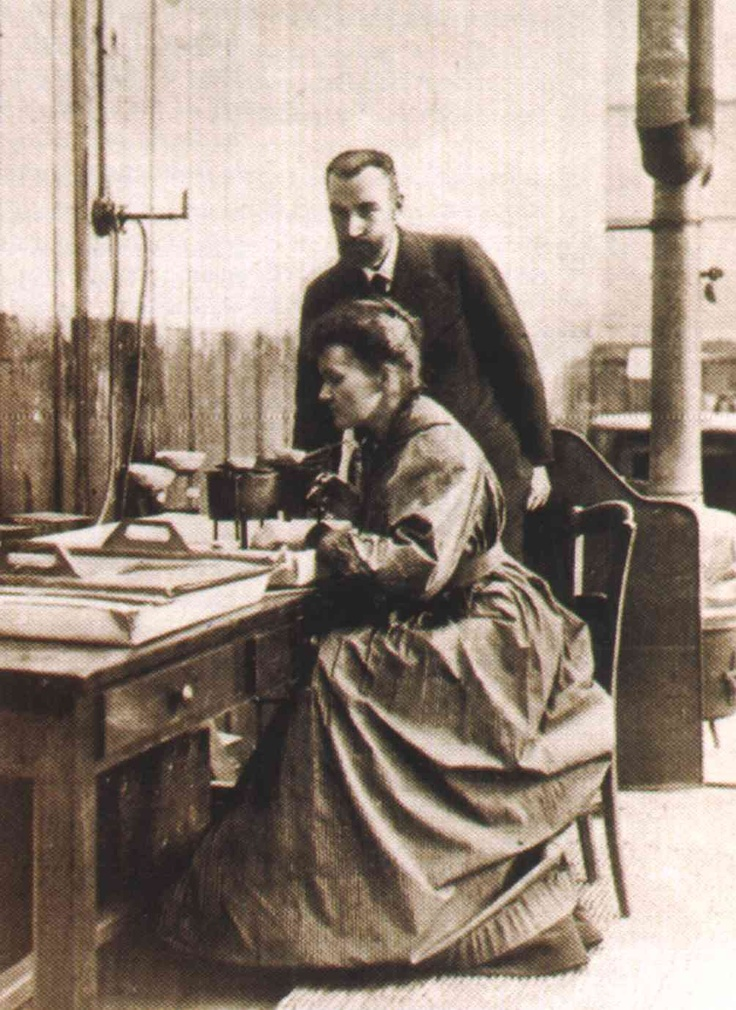 Marie Curie working with her husband Pierre