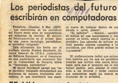 Gran artículo en La Nación de Buenos Aires, en 1981