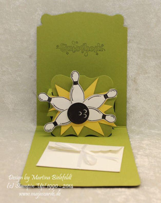 Weiteres - Karte zum Geburtstag Bowling Gutschein (Pop up) - ein Designerstück von majas-C-ards bei DaWanda