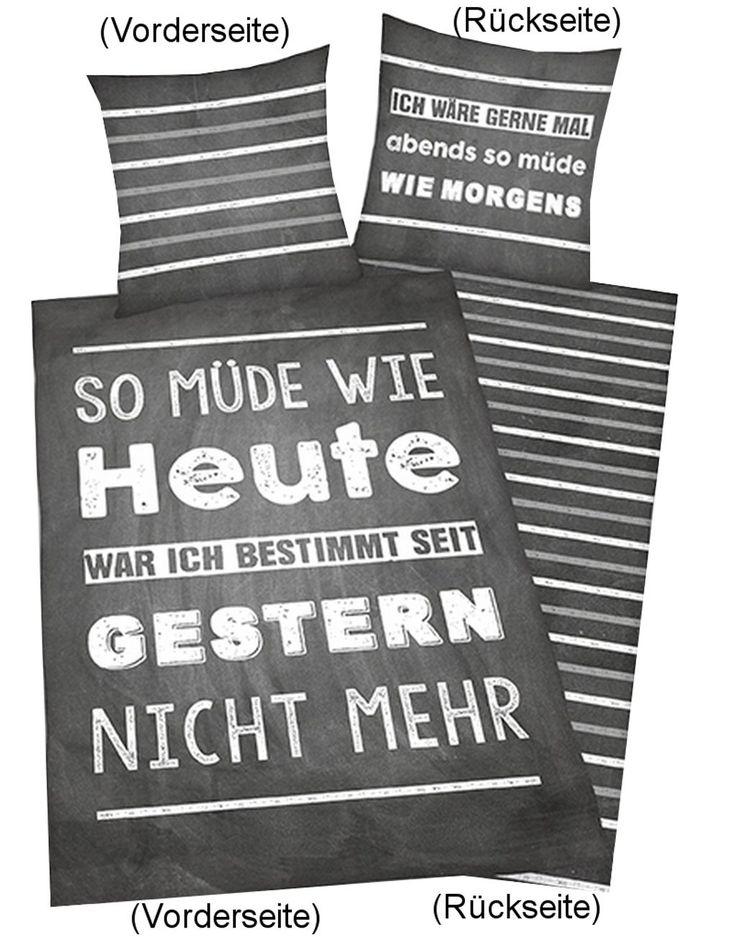 Bettwäsche Young Coll. Sprüche, Kopfkissenbezug: 80 x 80 cm + Bettbezug: 135 x 200 cm, 100 % Baumwolle, Linon