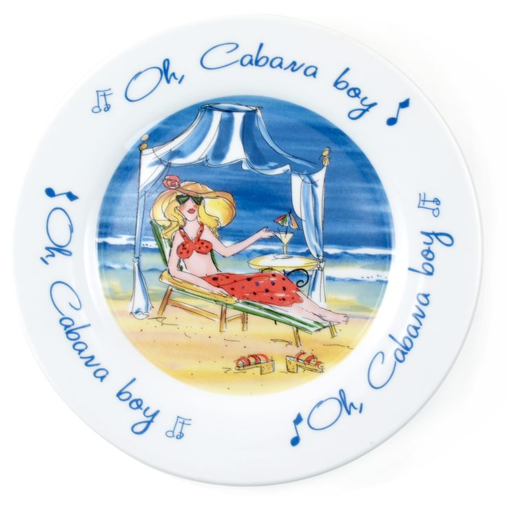 Relax on the beach and call your cabana boy to cater to your every whim with this fun design by Anne Ormsby. The essence of this plate is fun, flirty and very colorful. Great for dessert on the patio or pack them as small picnic plates for a beach outing.