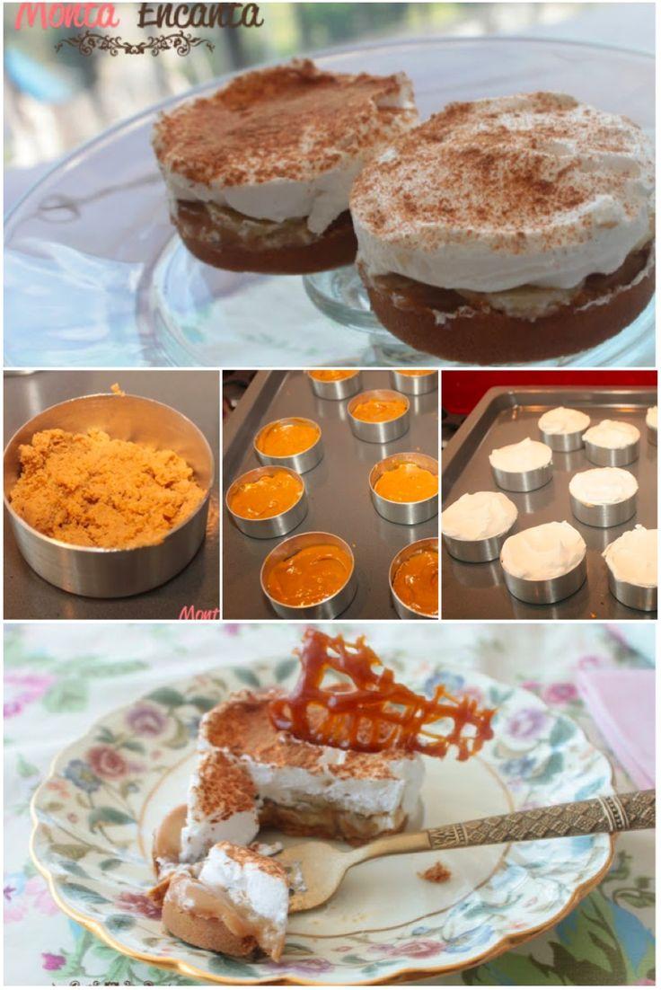 Banoffe Pie - torta doce de massa crocante de bolacha, doce de leite na panela de pressao, banana em fatias e chantilly