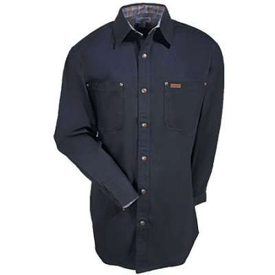 Carhartt Shirts: Men's Black S296 BLK Flannel-Lined Canvas Shirt Jacket