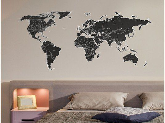 Black Labelled World Map Wall Sticker | The Binary Box