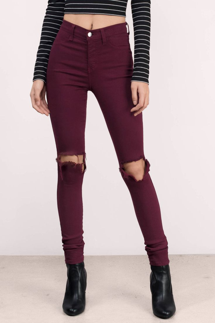 "Search ""Daniella Wine Distressed Jeans"" on Tobi.com! Cutout jeans high waist waisted skinnies skinny full length long tall burgundy maroon black stretch red jeggings #ShopTobi #fashion shop buy cheap inexpensive ideas chic fashion style fashionable stylish comfy simple chic essential capsule Basic outfit simple easy trendy ideas for women teens cute college fall winter summer spring outfit outfits comfortable shorts work school classy everyday business california LA"