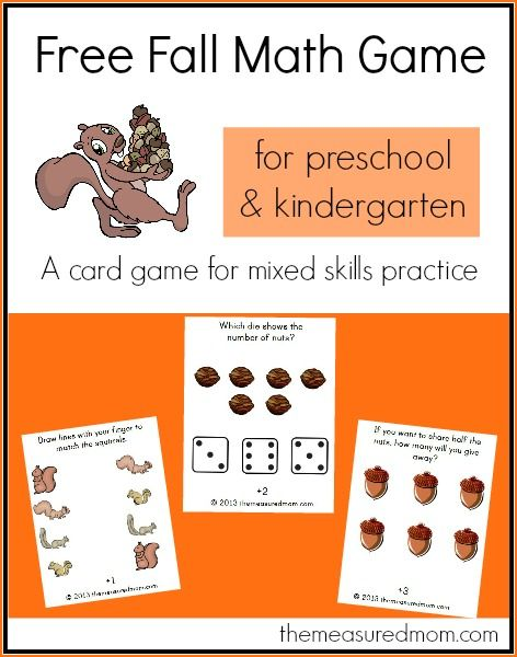 Print the cards for a preschool and kindergarten math activity - perfect for fall!