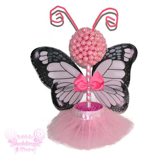 Pink Butterfly Fairy Princess Lollipop Topiary by EdibleWeddings, $59.99