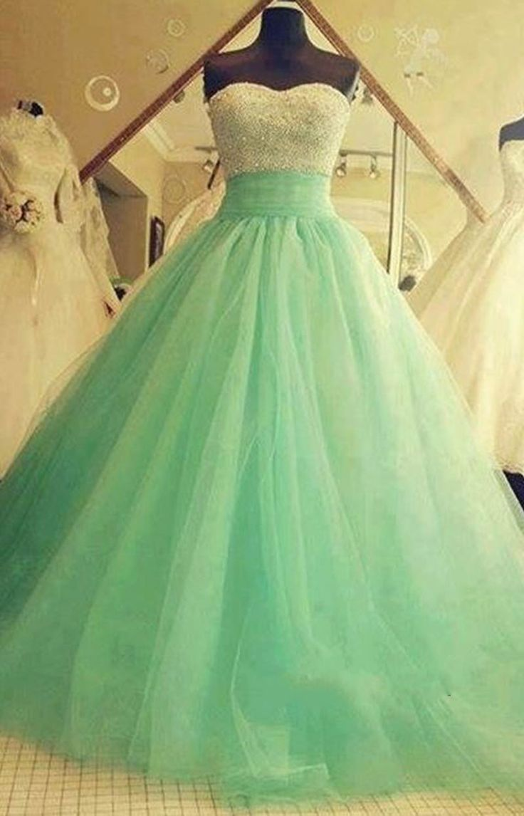 Pretty mint green ball gown with strapless sweetheart bodice jaglady