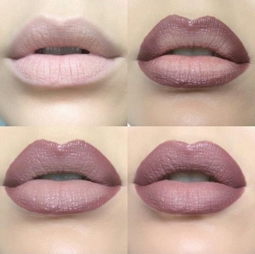 Ombre lips (Tip: Prime your lips first and/or dab a bit of concealer over them for more pigmented color) Steps: Line your lips, place your lighter color lipstick in the middle of top and bottom lips, press your lips together to spread color evenly, and fill in surrounding light color with darker lipstick or the liner you used. Press lips together again and you are done. For added shine dab a touch of clear lipgloss in the middle of your lips and pat them together.