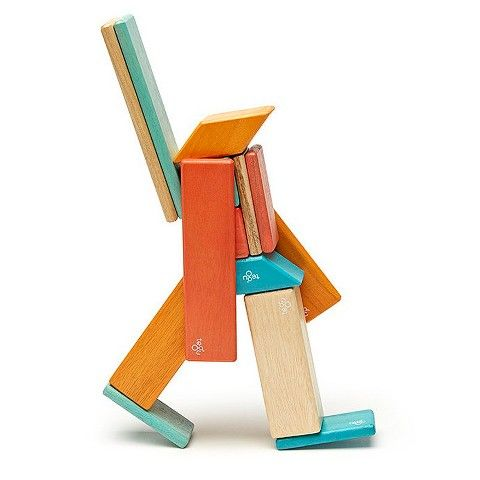 Tegu Magnetic Wooden Block Set in Sunset 14-Piece