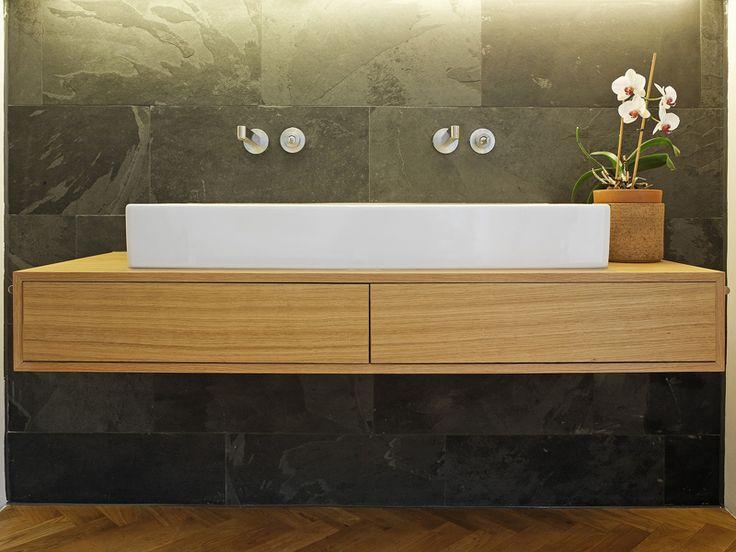 Single wooden washbasin countertop MODESTO Collection by Plan W I Werkstatt für Räume | design Daniel Bauschatz