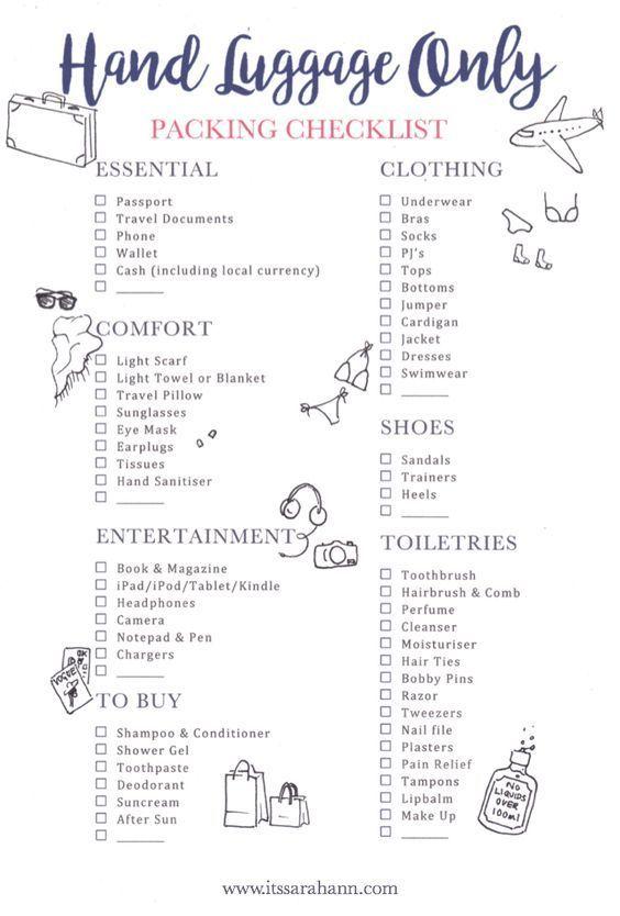 De vakantie paklijst: handbagage