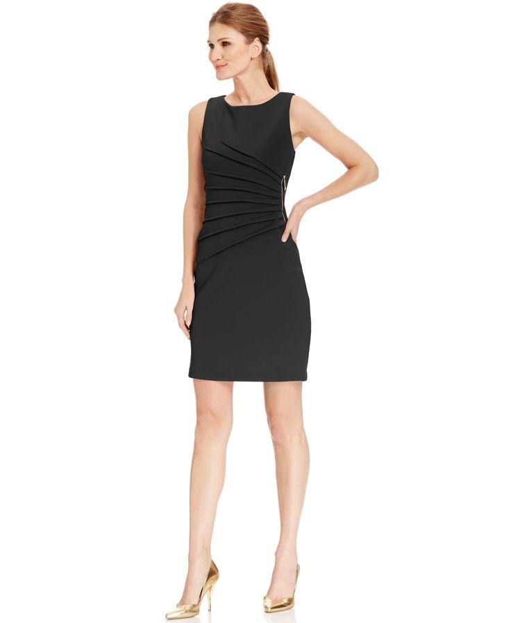 Ivanka Trump Pleated Zipper-Trim Scuba Sheath Dress