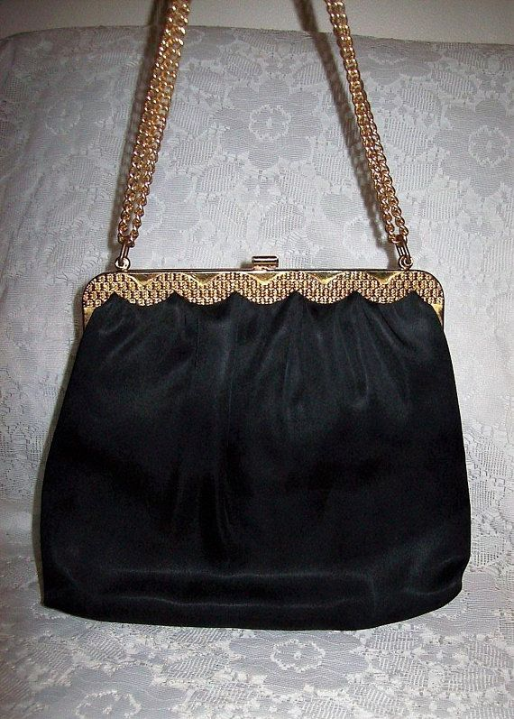 bf56b707eac4 Vintage 1950s Ladies Black Satin Bag w  Matching Coin Purse