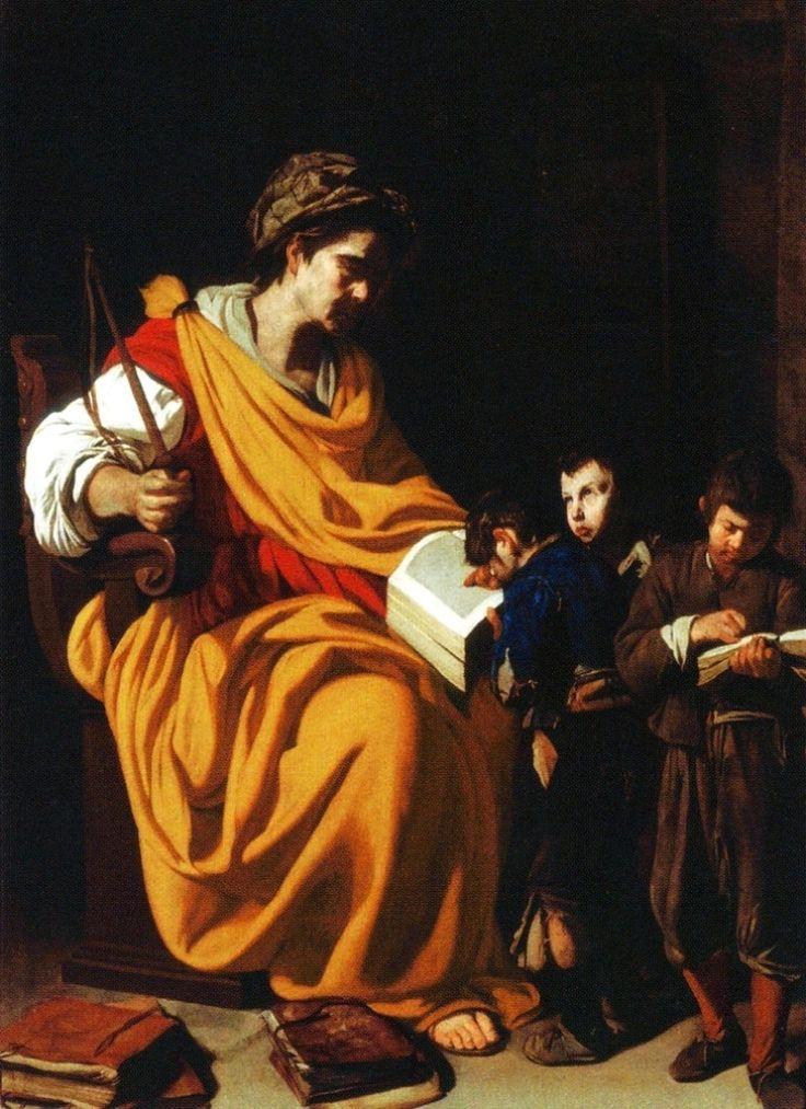 """""""La maestra di scuola"""" c. 1630, Aniello Falcone (1600-1666), Italian painter. Museo di Capodimonte, Napoli. #castig"""