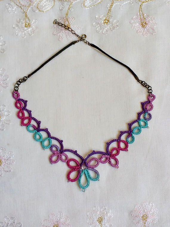 Boho Style Necklace  Tatted Lace  Frivolite  Multi Color
