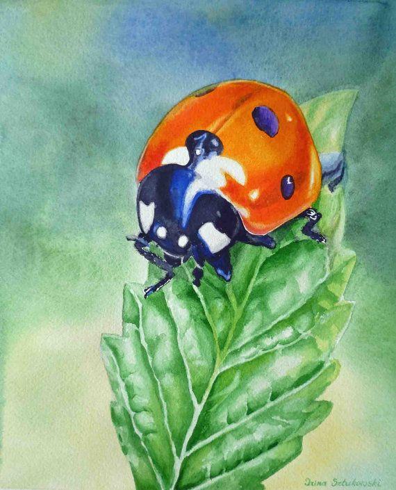 Lady Bug Painting Ladybug Art Fine Art Lady Bug by IrinaSztukowski, $26.00