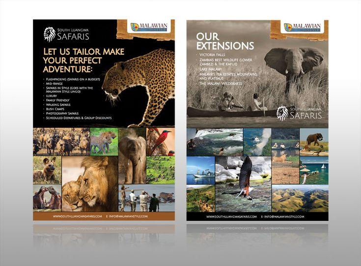 Travel safari hotel flyer leaflet malawian Style africa