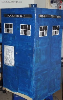 Cardboard box tardis - so cool! Great fun for any Dr Who fans.