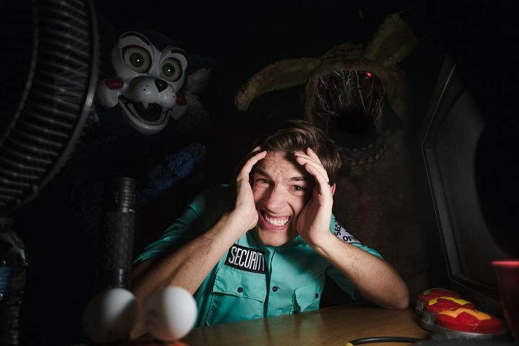 Living the dream...or rather, the nightmare, MatPat survives the night in a haunted animatronics facility. Used with permission.