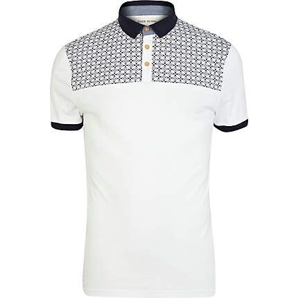 White tile print yoke polo shirt - polo shirts - t-shirts / vests - men