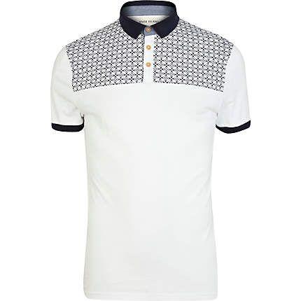 White tile print yoke polo shirt £22.00