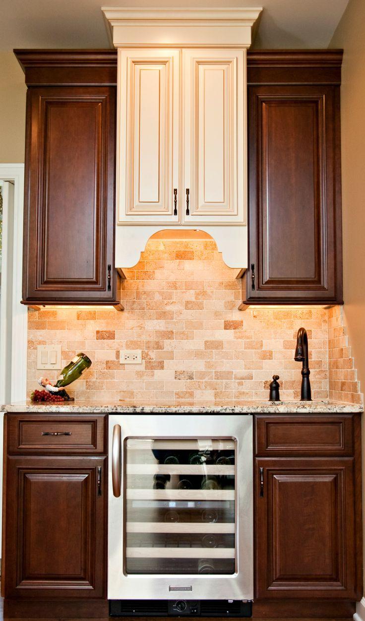 Elegant Wet Bar Adjacent To Kitchen Two Tone Cabinetry