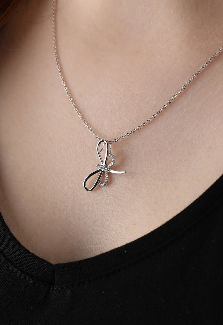 Diamant Libelle Halskette, Diamant Halskette für Frauen, Silber Diamant Halskette, kleine Lib…