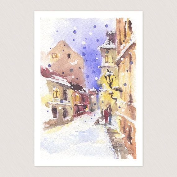 Handmade Christmas card with winter Prague view - cute greeting card, retro style Chtistmas gift $4.50 USD https://www.etsy.com/listing/171243710/handmade-christmas-card-with-winter?ref=shop_home_active