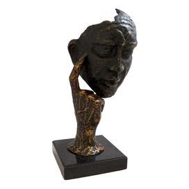 """Statue with a thinking man silhouette on a marble base.   Product: StatueConstruction Material: MetalColor: BronzeDimensions: 12"""" H x 6.5"""" W x 5"""" D"""