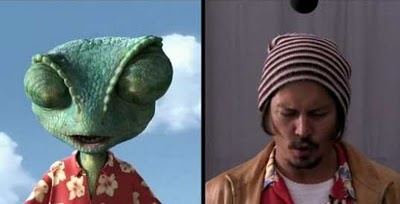 Rango & Johnny Depp, for this movie they filmed them in a room and did it like a movie. they all had to were costumes too. like Johnny Depp had to were a tail. :) and they used his actions to make what Rango did. so yaa theres some pretty funny vidios of them filming. :)