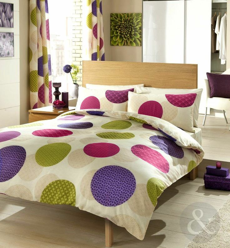 Circle Patchwork Duvet Cover Purple Lime Green Pink Cream Bedding Bed Set Writing Room