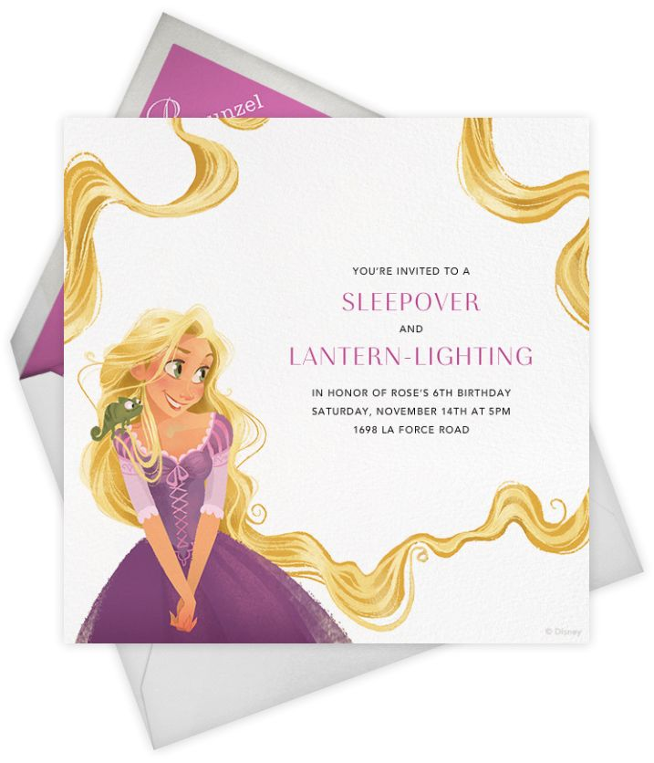 "If you are throwing a Tangled or Rapunzel party, check out this ""Let Down Your Hair"" invitation by Paperless Post. These online Tangled invitations for kids' birthdays come with easy-to-use design tools and RSVP tracking. View other Disney invitations on paperlesspost.com/disney."