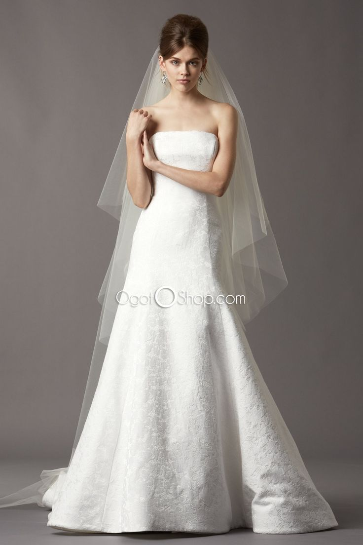Best Couture A line lace wedding dresses with long button train