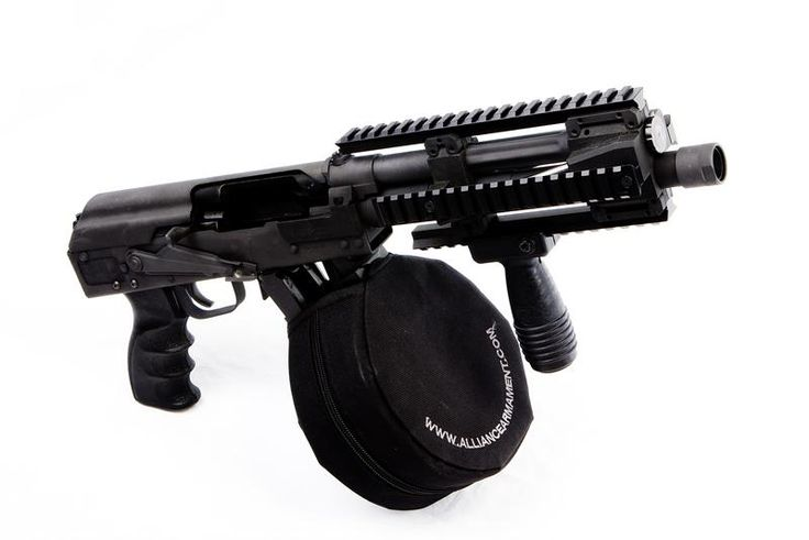 Saiga 12 shotgun with accelerator pistol conversion and drum.