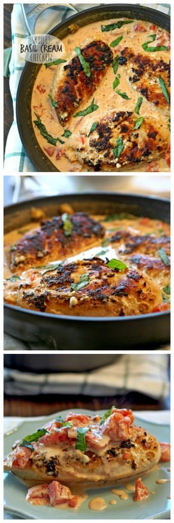 ONE POT Skillet Basil Cream Chicken