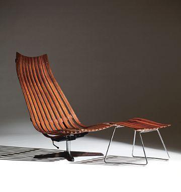 HANS BRATTRUD Hvilestol med skammel Scandia Vipp, Hove Møbler. Ca. 1961.