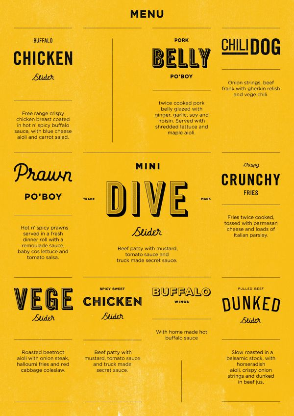 dive menu