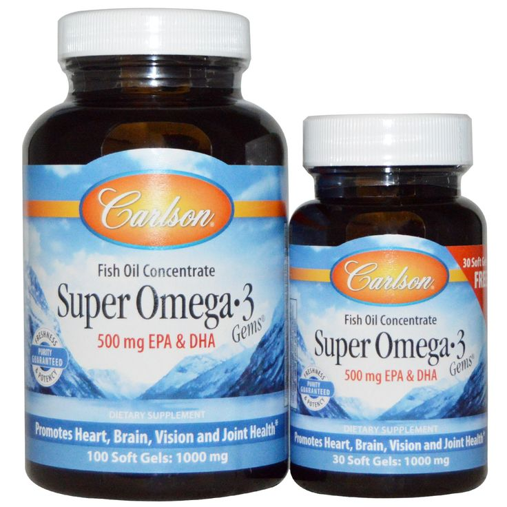Carlson Labs, Super Omega·3 Gems, Fish Oil Concentrate, 1000 mg, 100 Soft Gels   Free 30 Soft Gels