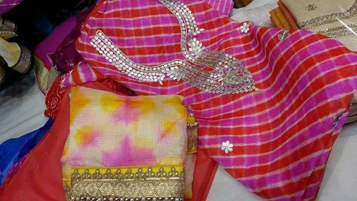 Silk kota kurtas clubbed with silk kota tie n die dupptas .by Araina fabs Mount abu