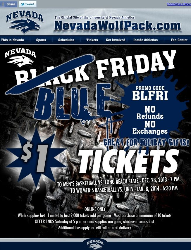 University of Nevada - $1 basketball tickets for Blue Friday - online only offer