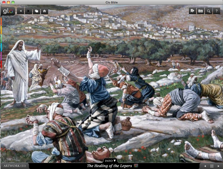 Jesus healing the lepers. Glo is a free interactive socially-enabled app that brings the scripture to life through video, photos, maps, virtual tours, reading plans and more! Download it for FREE, www.GloBible.com
