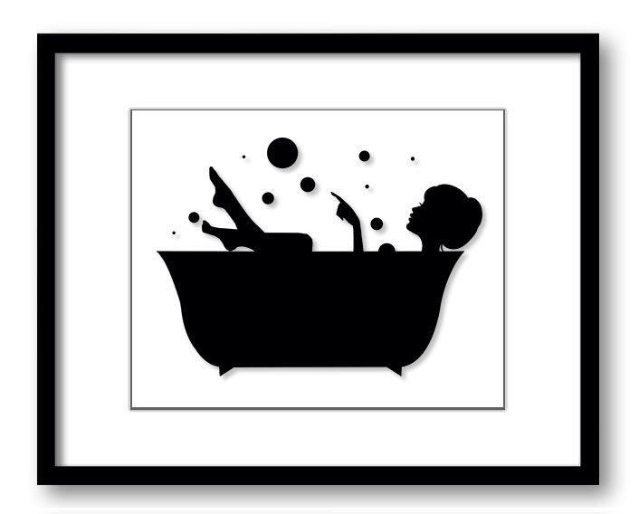 INSTANT DOWNLOAD Hair Up Black White Girl in a Bath Tub Bathtub Printable Bathroom Print Art Print Wall Decor by PrintsWallArt on Etsy https://www.etsy.com/listing/196748769/instant-download-hair-up-black-white