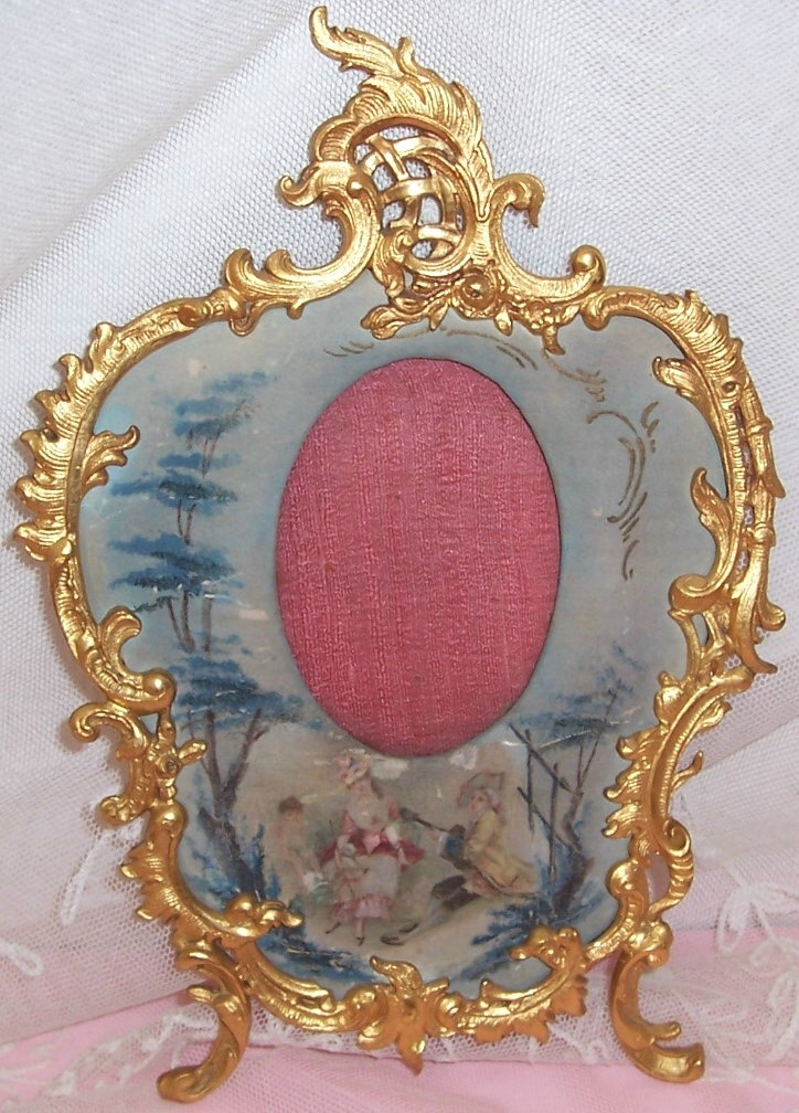ANTIQUE/Victorian/French Scrolled Crown/Roses Gilt Brass Ormolu/Rococo Picture Frame w/ Hand Painted SILK Mat/Cherub