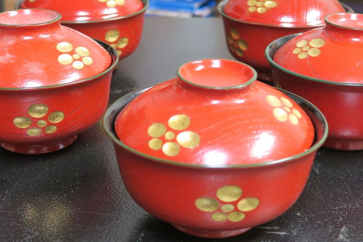 Japanese Boat Pine Wood Red & Gold Cherry Blossom Lacquered Soup Bowls Lot (5)